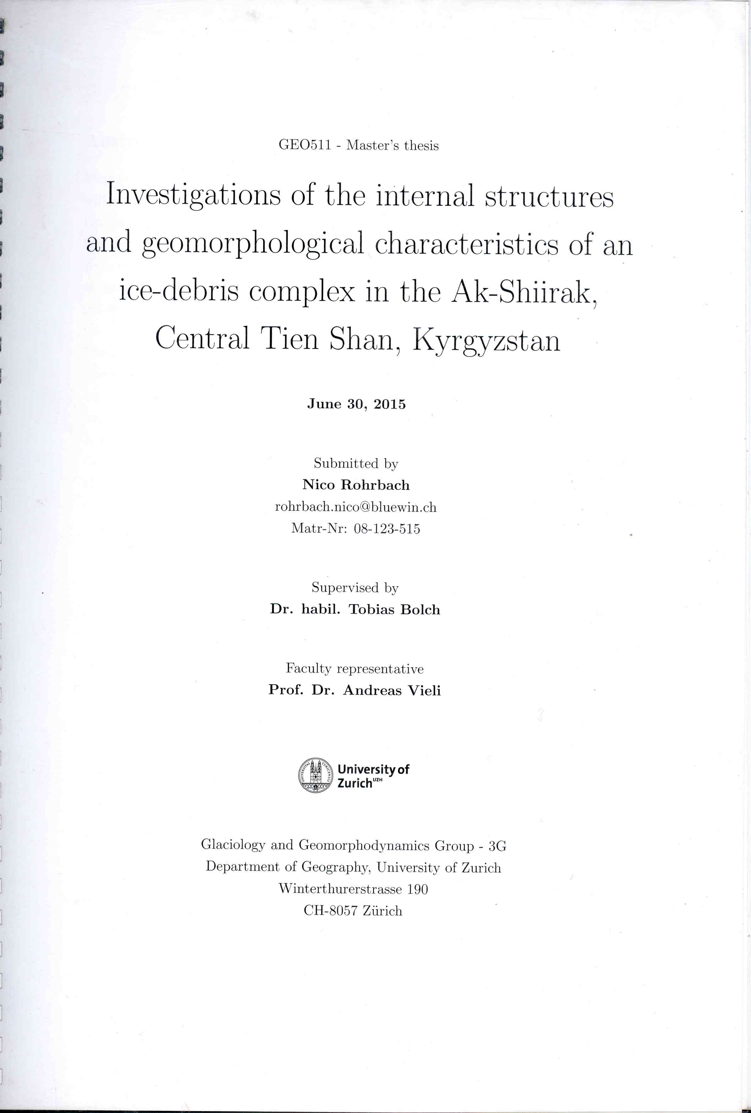 Обложка Investigations of the internal structures and geomorphological characteristics of an ice-debris complex in the Ak-Shiirak, Central Tien Shan, Kyrgyzstan